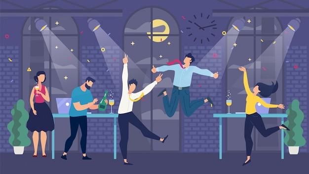 Office party celebration en happy cartoon team Premium Vector