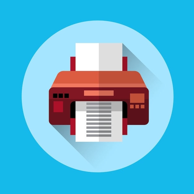 Office-printer kleurrijke pictogram Premium Vector