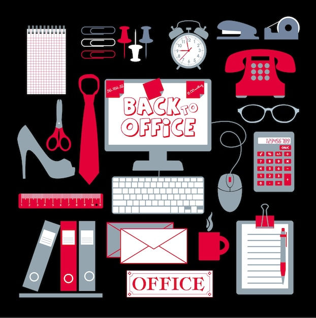 Office set abstracte achtergrond Gratis Vector