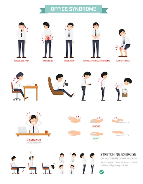 Office-syndroom infographic Premium Vector