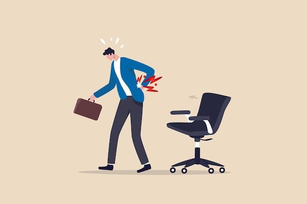 Office syndroom rugpijn illustratie Premium Vector