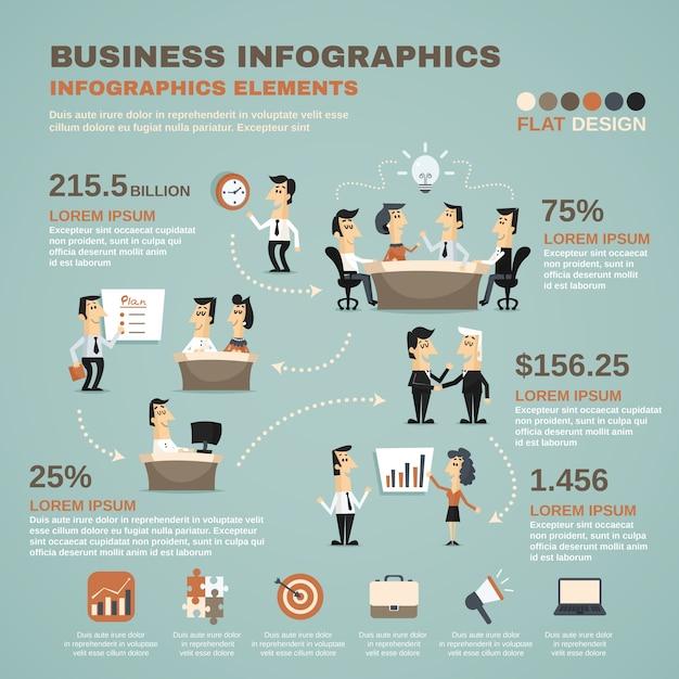Office werk infographics presentatie poster Gratis Vector