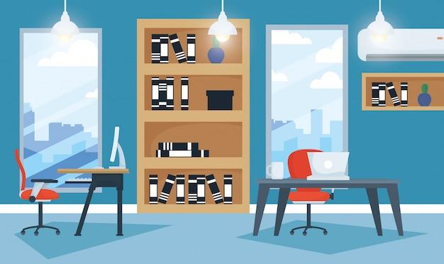 Office werkplek met laptop en desktop scene Premium Vector