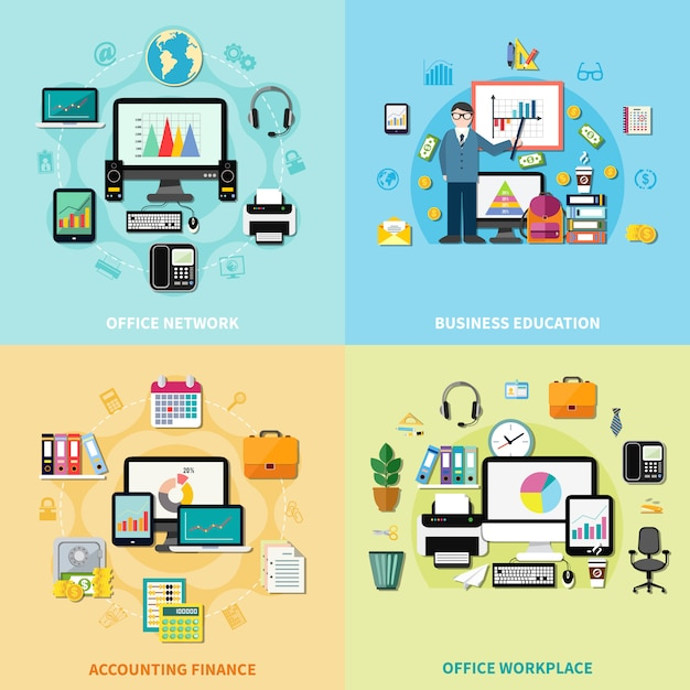 Office workplace 2x2 design concept Gratis Vector