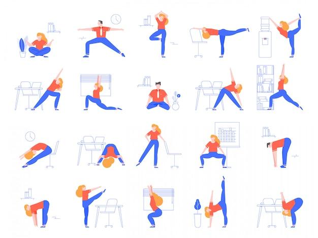 Office yoga-oefeningen. fitness en yoga training voor kantoorpersoneel, ontspannen en strekken in kantoorruimte illustratie set. opwarmen voor bedienden. sporttraining en asana's op de werkplek Premium Vector