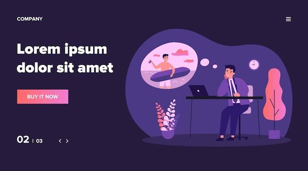 Officemanager droomt van surfen illustratie. zakenman zittend op het werk en ontspannen in gedachten. vakantie en vakantie concept Premium Vector