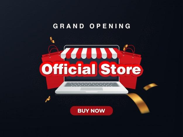 Officiële winkel online winkel, grootse opening. verkoop achtergrond Premium Vector