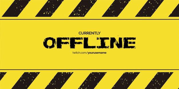 Offline twitch achtergrondontwerp met grunge-achtergrondmalplaatje Gratis Vector