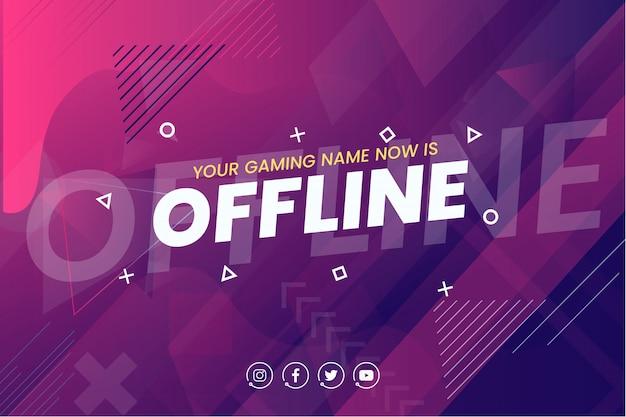 Offline twitch banner achtergrond sjabloon Gratis Vector