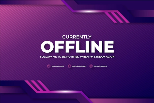 Offline twitch banner gammer-stijl Gratis Vector