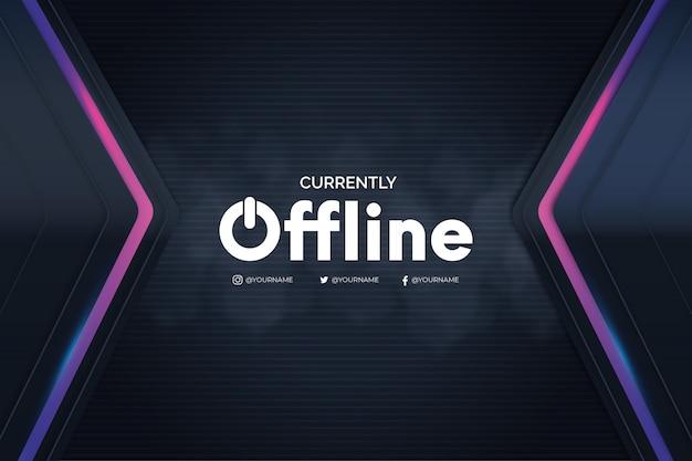 Offline twitch banner met 3d-achtergrond Gratis Vector