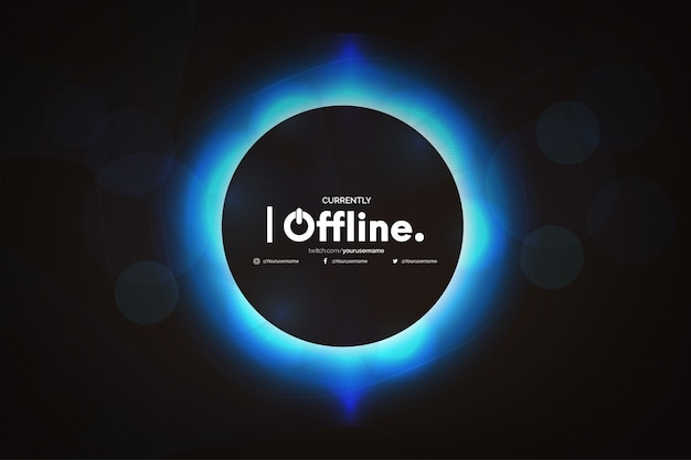 Offline twitch banner met abstract wave-sjabloon Gratis Vector