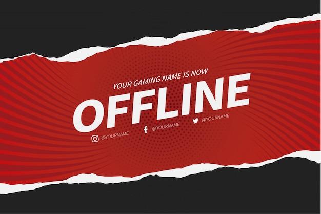 Offline twitch banner met paper cut-ontwerpsjabloon Gratis Vector