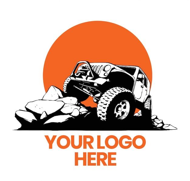 Offroad auto 4x4 logo Premium Vector