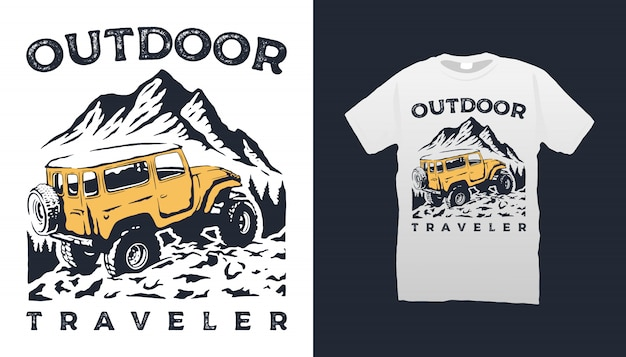 Offroad auto en berg tshirt design Premium Vector