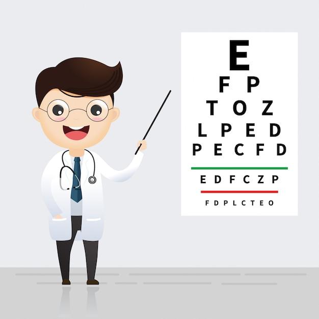 Oftalmologie concept. oculist die op de grafiek van de oogtest richt Premium Vector