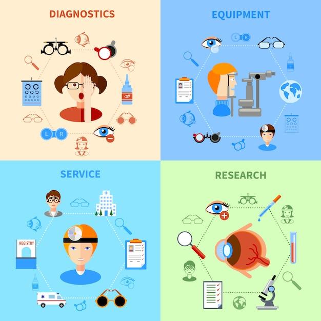 Oftalmologie en gezichtsvermogen icons set Gratis Vector