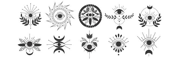 Ogen doodle set. verzameling van hand getrokken sjablonen patronen van magische hekserij oog talisman, magische esoterische religie heilige geometrie symbolen. amulet talisman of verschillende geluksherinneringsillustratie. Premium Vector