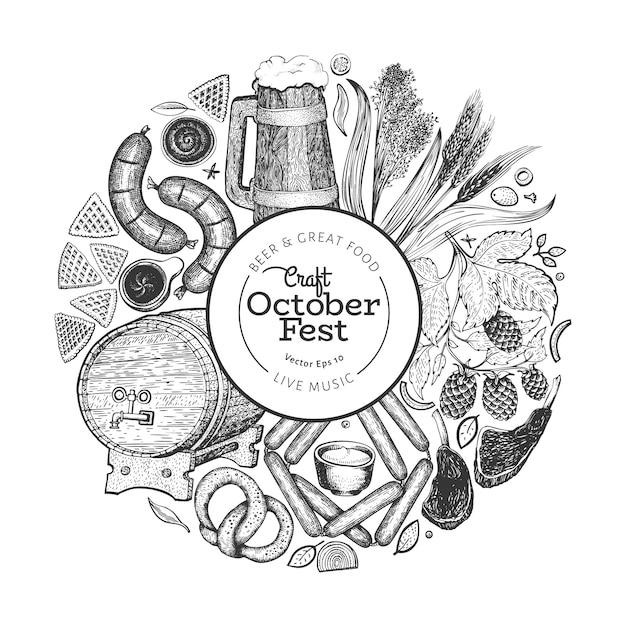 Oktoberfeest banner. vector hand getrokken illustraties. Premium Vector