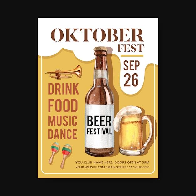 Oktoberfest-affichemalplaatje met geïsoleerd muziekinstrument, de waterverfillustratie van het bierontwerp Gratis Vector