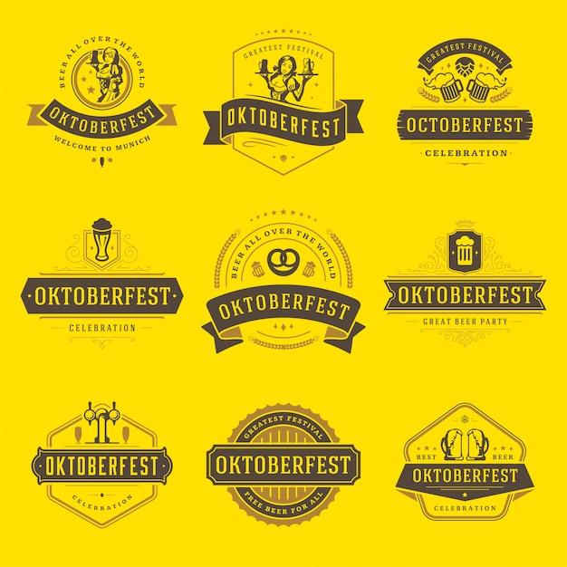Oktoberfest badges en logo's ingesteld Premium Vector