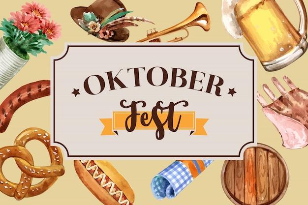 Oktoberfest bannerontwerp met tiroolse hoed, bier, worst en trompet Gratis Vector