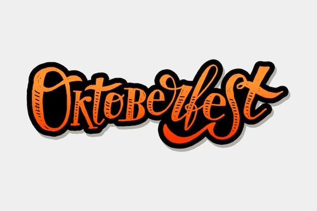Oktoberfest belettering kalligrafie penseel tekst vakantie sticker Premium Vector