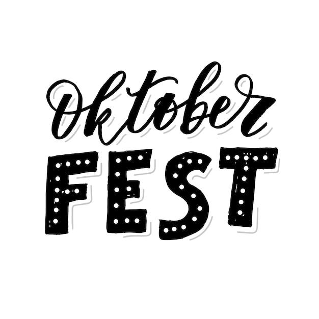 Oktoberfest belettering kalligrafie penseel tekst vakantie Premium Vector