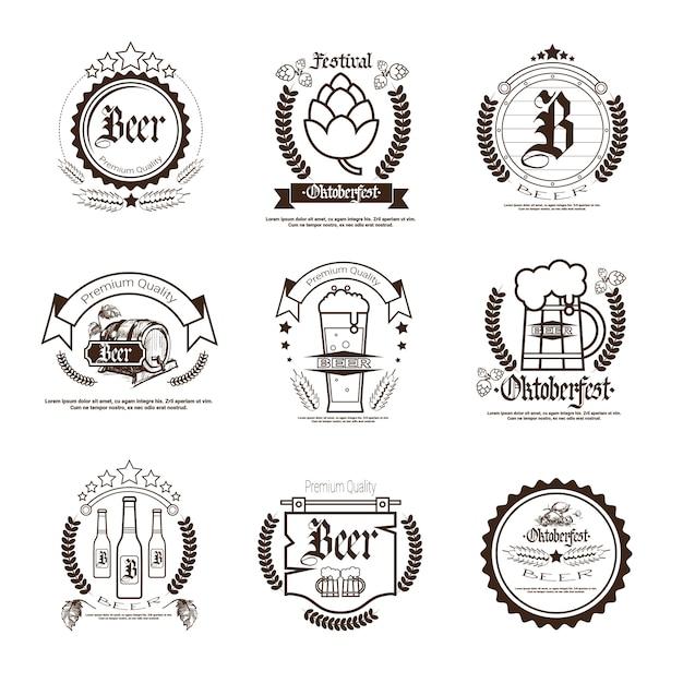 Oktoberfest bierfestival badge set Premium Vector