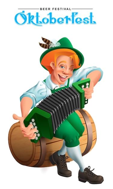 Oktoberfest bierfestival. jonge duitse man zit op een houten vat en speelt een accordeon. geïsoleerd op wit cartoon afbeelding Premium Vector