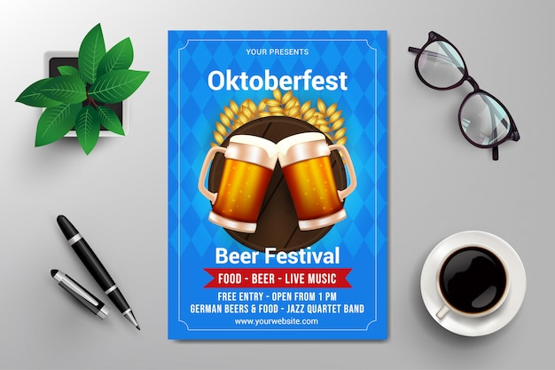 Oktoberfest bierfestival sjabloon folder Premium Vector