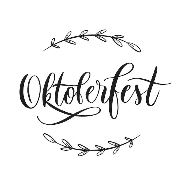 Oktoberfest bierfestival typografie belettering embleem. Premium Vector