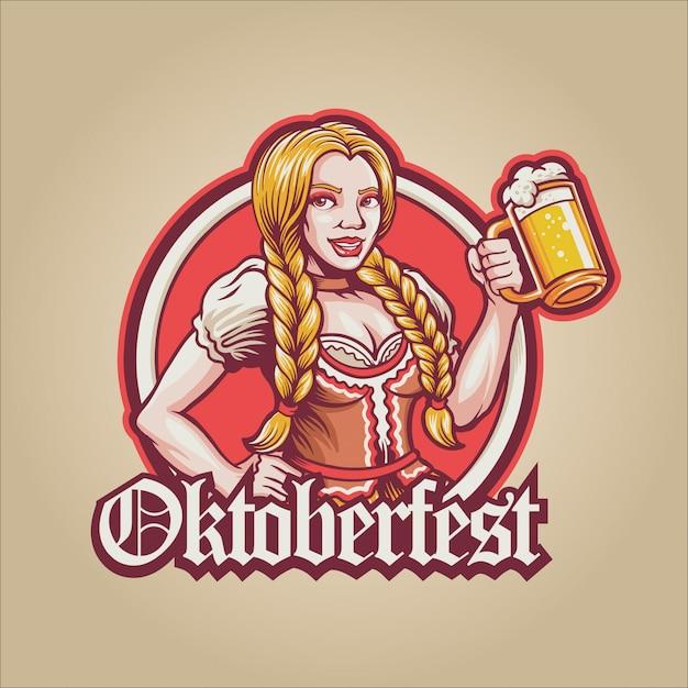 Oktoberfest biermeisje Premium Vector