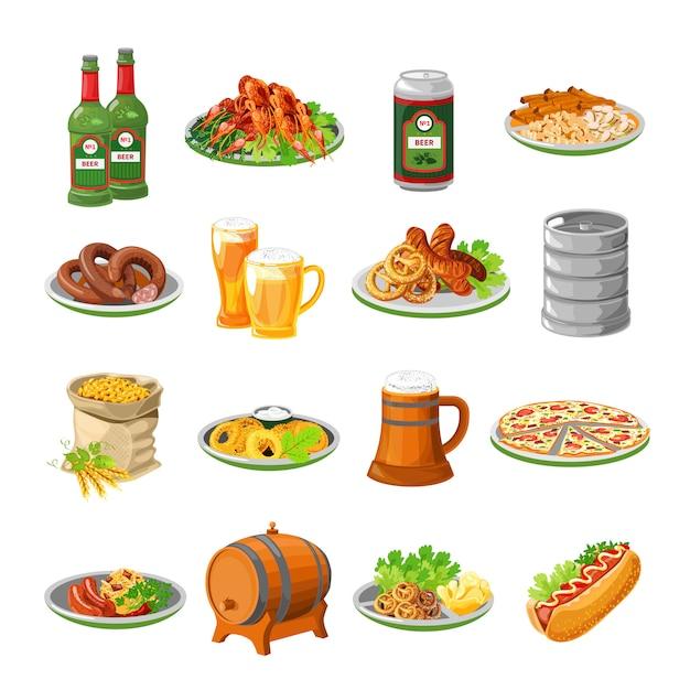 Oktoberfest biervoedsel vlakke pictogrammen instellen Gratis Vector