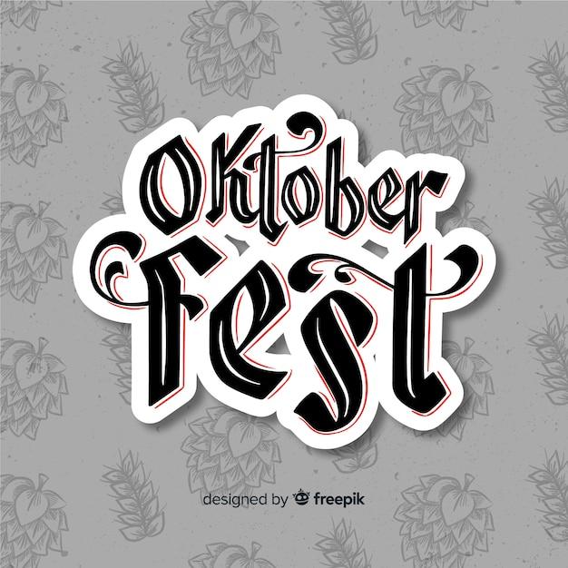 Oktoberfest concept met belettering achtergrond Gratis Vector