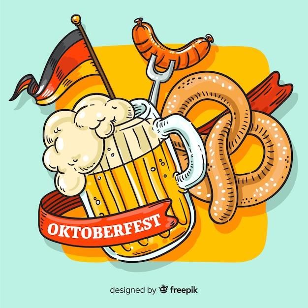 Oktoberfest concept met hand getrokken achtergrond Gratis Vector