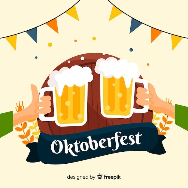 Oktoberfest concept met platte ontwerp achtergrond Gratis Vector