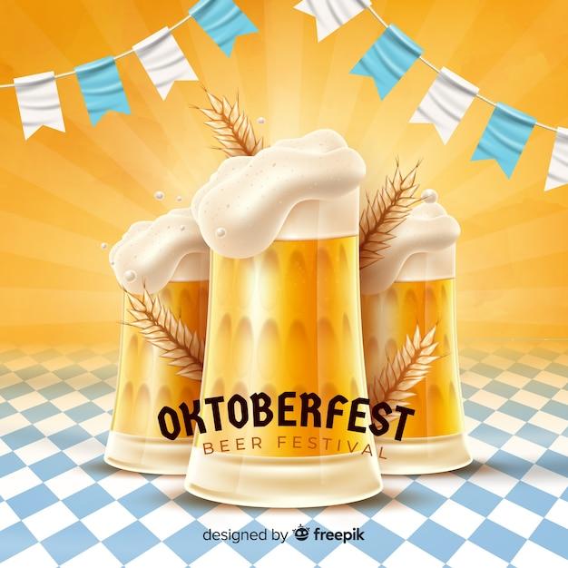Oktoberfest concept met realistische achtergrond Gratis Vector
