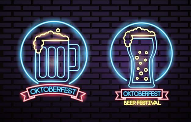 Oktoberfest duitsland feest neon Gratis Vector