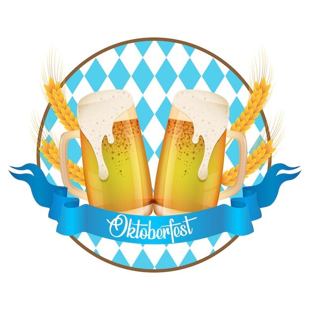 Oktoberfest feest illustratie met vers bier Premium Vector