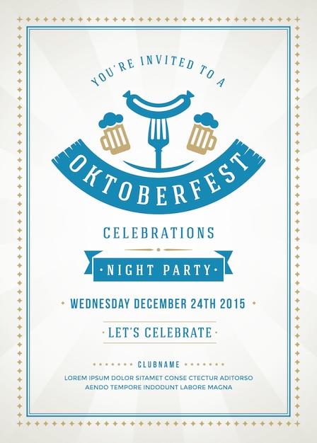 Oktoberfest flyer of poster sjabloon met retro design bierfestival viering Premium Vector