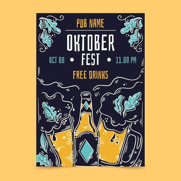 Oktoberfest flyer-sjabloon met bier Gratis Vector