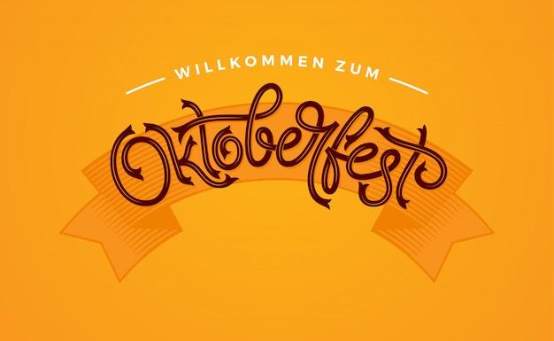 Oktoberfest handgeschreven typografie. oktoberfest belettering voor wenskaarten en poster. illustratie. bierfestival vector banner. sjabloon viering. Premium Vector
