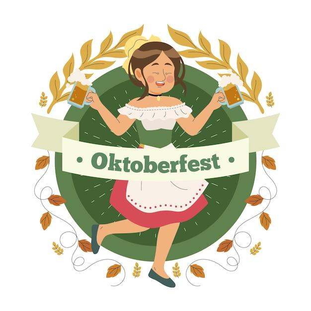 Oktoberfest handgetekende concept Gratis Vector