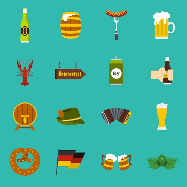 Oktoberfest pictogrammen instellen Premium Vector