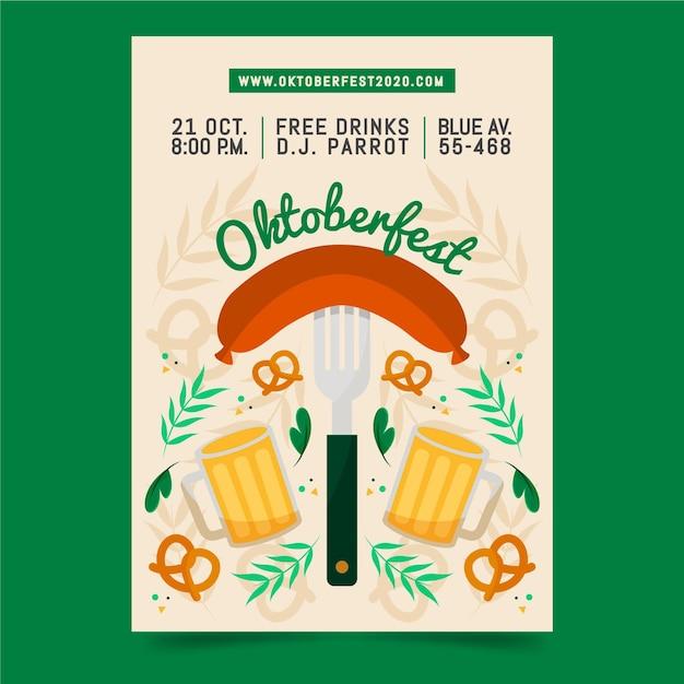 Oktoberfest poster in plat ontwerp Gratis Vector