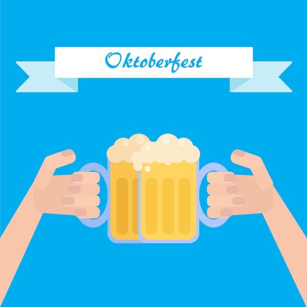 Oktoberfest poster met bier in de hand Premium Vector