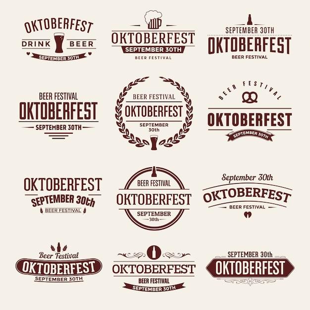 Oktoberfest typografische set Premium Vector