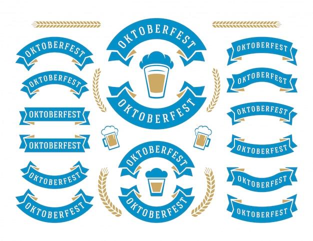 Oktoberfest viering bierfestival linten en objecten instellen Premium Vector