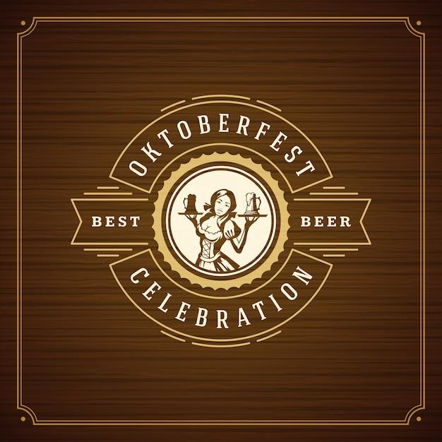Oktoberfest viering vintage de groetkaart van het bierfestival Premium Vector
